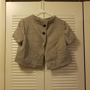 Peggy Jennings Button Cape Jacket Top Wool Cropped